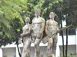 Sculptures representing the Liberation Movement's fight for independence in 1971