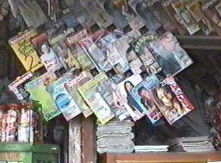 A roadside newspaper and magazine stall