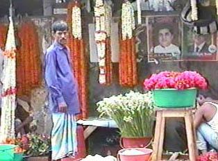 A roadside florist's stall