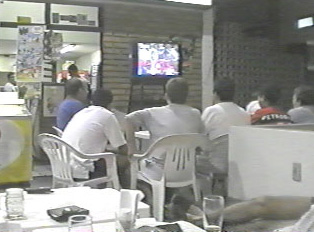 Watching soccer at a bar