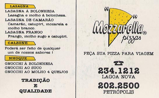 Pizza menu - front