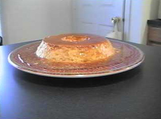 Brazilian flan, side view