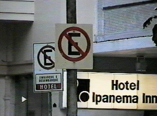No parking or drop off and pick up at hotel, with the 'Ipanema Inn' hotel sign in the background