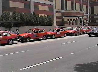 Taxi stand by the mall