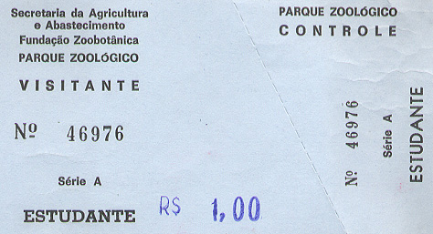 Admission ticket to the zoo