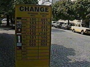 Sign displaying exchange rates