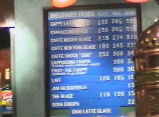 Coffee shop menu