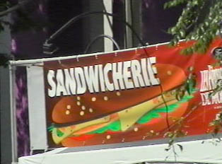 Sign advertising a sandwich place