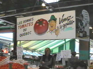 Tomatoe stand in an open air market