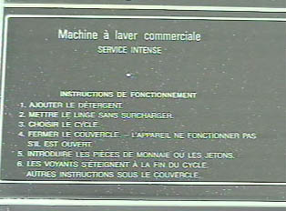 Another set of instructions on the machine