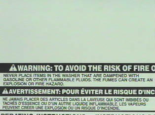 Warnings to avoid the risk of fire, explosion, or spontaneous combustion