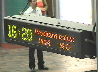 Sign indicates the times when the next trains will arrive