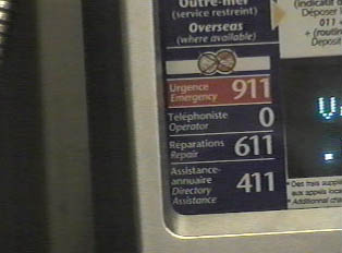 Emergency and operator phone numbers