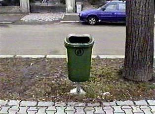 A public trash can