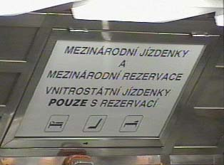 Sign for international tickets; non-international tickets