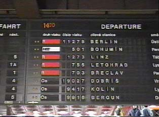 Departure times for trains