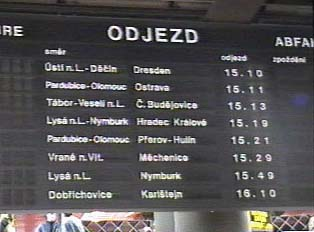 Close-up of departure times