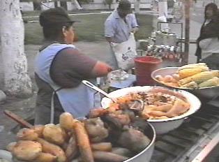 Potatos and baked bananas