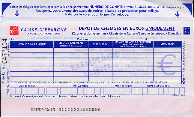 Sample deposit slip