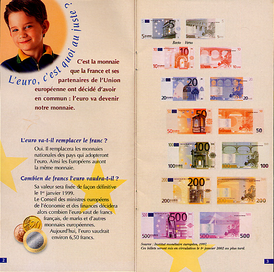 Brochure describing the Euro currency