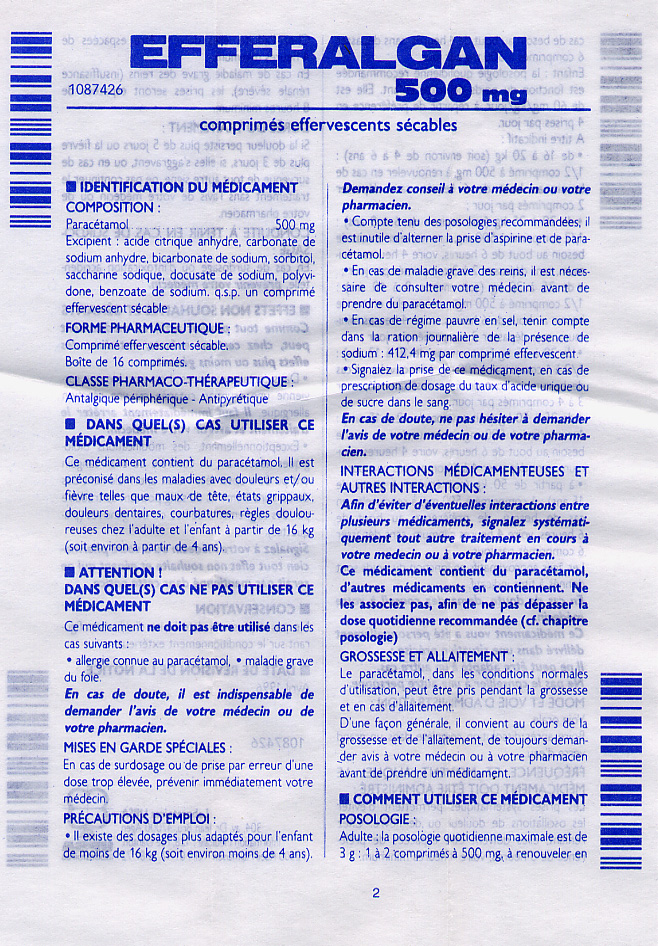 Front page of instructions for the medicine