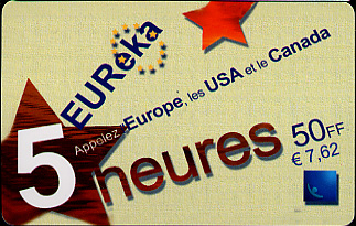 Pre-paid phone card for Europe, U.S., and Canada
