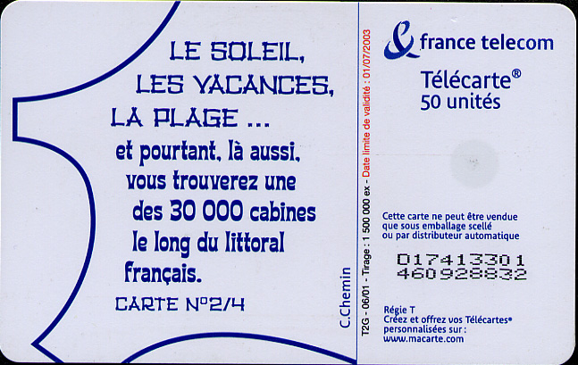 An insertable phone card for 50 units within France