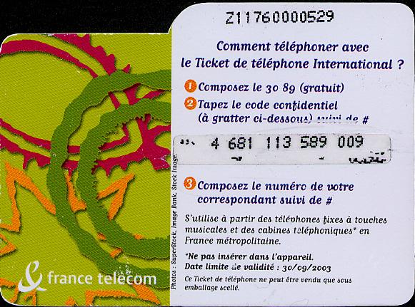 A pre-paid international calling card
