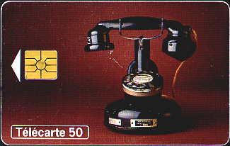An insertable pre-paid calling card for 50 units within France