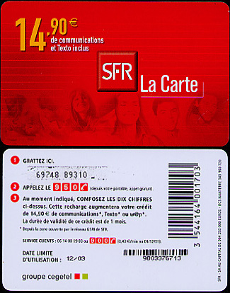 A cell-phone card