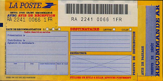 Registered mail slip