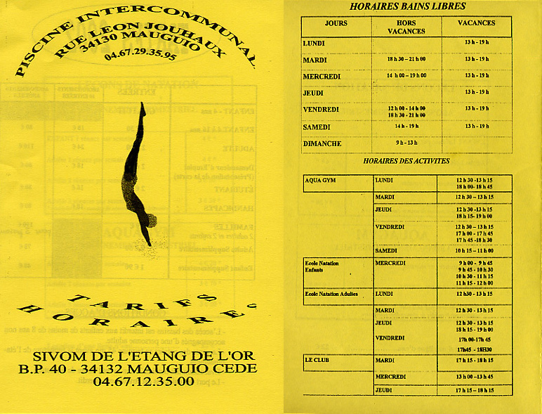 Swimming fees brochure