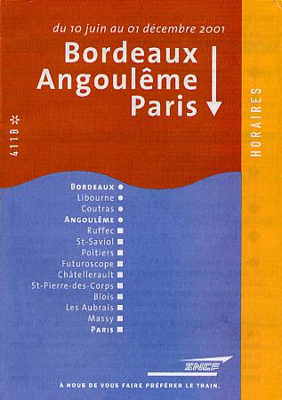 Cover for a TGV ('train a grande vitesse' or high speed train) schedule