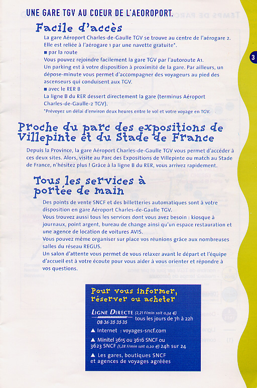 Brochure about using the TGV train to get to the airport