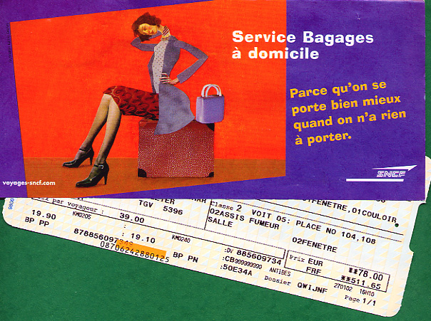 Luggage information with ticket