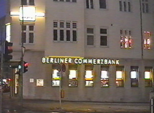 A neon bank sign