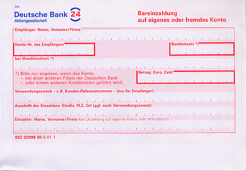 A bank form