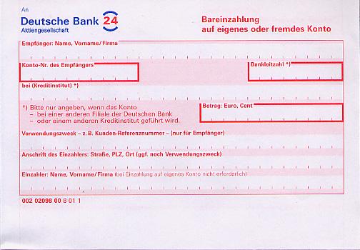 A bank form