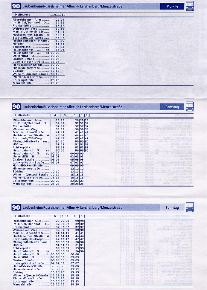 A bus schedule