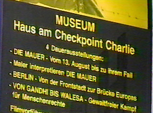 Exhibition sign at Checkpoint Charlie Museum