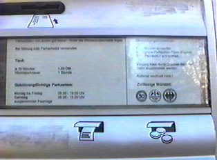Close-up of the instructions on the parking machine