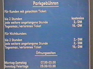 Parking fees and hours