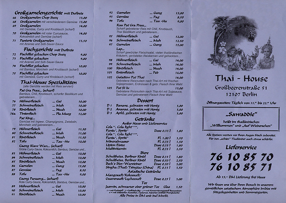 First page of a Thai Restaurant menu