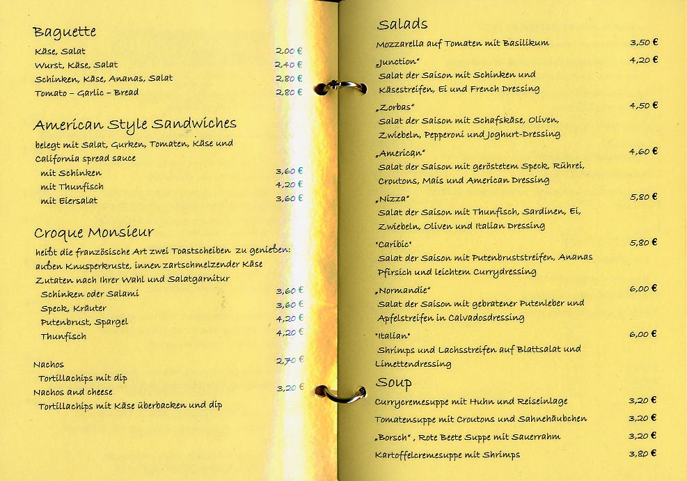Third page of a bar menu