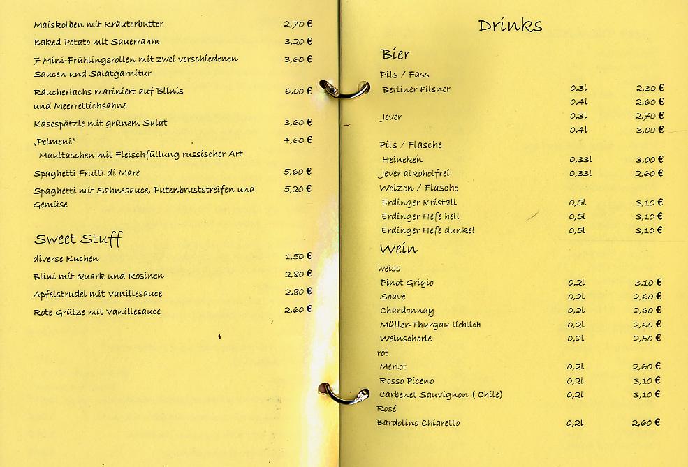 Fourth page of a bar menu