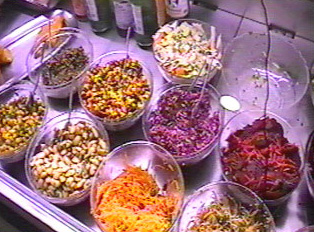 Various types of salads