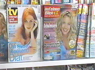 Rack of TV magazines