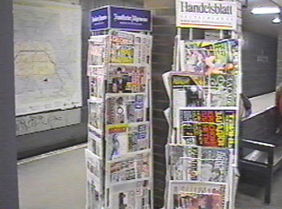 Rack of newspapers