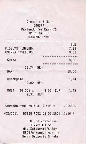 Drug store receipt