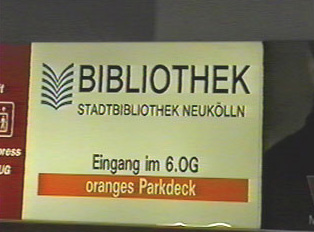 A library sign